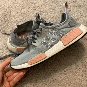 Grey/Pink Adidas NMD with glitter